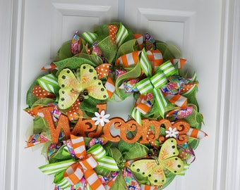 Christmas in July Sale, Spring Wreath, Summer Wreath, Butterfly Wreath, Front Door Decor