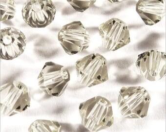40 Czech Bicone 4mm light grey Crystal beads