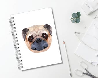 Geometric Pug Journal // Minimalist // Typography // Fashion // Scandinavian // Diary // Planner // Modern Office // Personalized