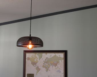 Custom Perforated Bowl Pendant Light w/ Round Edison Style Bulb