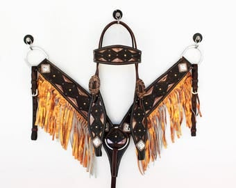 Hand Made Metallic  Orange Headstall Leather Western Horse Trail Bridle Breast Collar Plate Fringe Barrel Racer Cowgirl Bling Tack Set