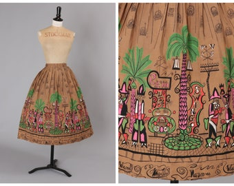 Vintage 1950s 50s Saul Steinburg 'Tin Horn Holiday' Novelty Print Skirt UK 8-10 US 4-6