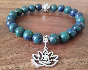 "Pearl bracelet ""Open"", chrysocolla and lapis lazuli beads, round vintage Tibetan silver Sun Medal"