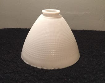 Vintage Milk Glass Lamp Shade - Waffle Pattern Torchiere Diffuser