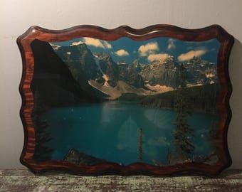 Vintage Decoupage Alaska Lake Scene - Mid Century Decoupage Lake and Mountains on Wood