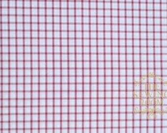 Pima Pastel Classics Red Check Fabric - By Spechler-Vogel Textiles - 100% PIMA Cotton - Window Pane Check