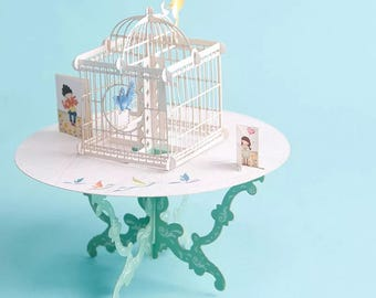 Beautiful intricate birdcage/ table greeting card with stunning detail of two birds in ornate cage on a round table /two small cards