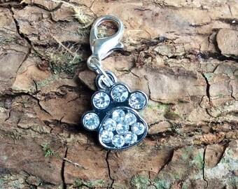 Diamante dog collar charm, diamante dog bone charm, diamante paw print charm, clip on collar tag, gift for dog, gift for dog lover