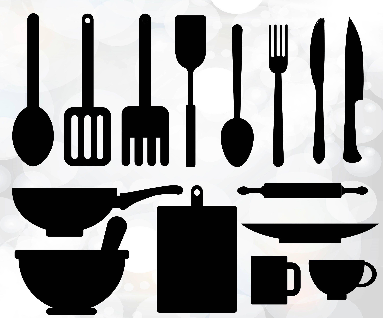 Kitchen utensils svg utensils vector digital cut file for Kitchen set vector