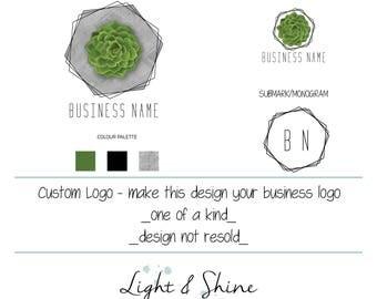 BUSINESS LOGO design, succulent logo, greenery, plants, concrete, Shop Logo, Pentagon Geometric, customise, handmade goods, small business