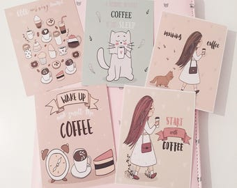 Set of 5 Cats and Coffee Journalling Cards
