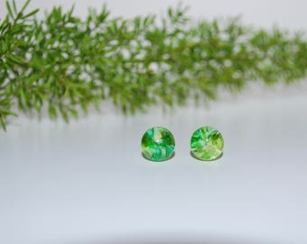 Green Grass Glass Stud Earrings