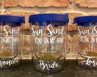 Sun Sand Ring On My Hand Sun Sand Drink In My Hand Bachelorette Weekend Party Stemless Wine Tumbler Cup