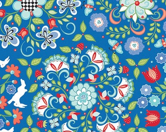 1 yard Periwinkle Medallion cotton fabric from Folk Art Fantasy collection from Amanda Murphy for Contempo  fabrics