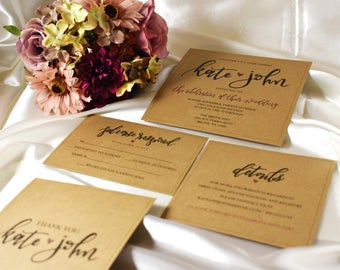 Modern and Rustic - Wedding Invitation Suite