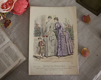 Antique French Fashion Print - Journal des Demoiselles - #4588 - 19th Century