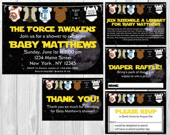 Star Wars Baby Shower Invitation, RSVP Cards, Book Request, Diaper Raffle and Thank You Insert