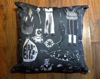 See at Sea 45cm X 45cm cotton drill cushion Designed and made in the UK