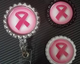 Breast Cancer badge holder, Pink badge holder, Fight like a girl