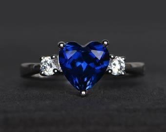 blue sapphire ring wedding ring heart cut blue gemstone September birthstone sterling silver ring