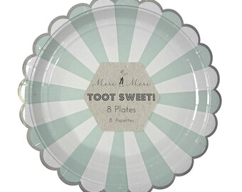 Mint Green and White Striped Paper Plates, Party Tableware, Birthday, Celebration