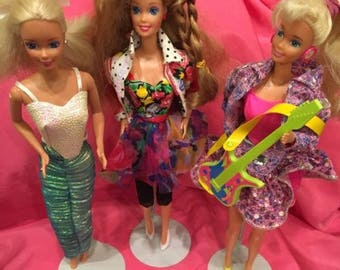 Lot of 3 Vintage 1990s Barbies, Teen Talk, Barbie & the Beat, Other
