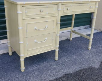 Vintage Thomasville Faux Bamboo Desk | Palm Beach Chic Desk