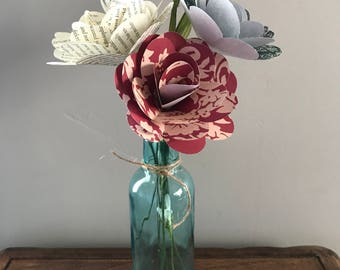Red, White, and Blue Paper Rose Trio with Vase