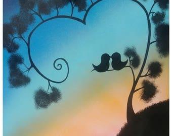 Love at Sunrise-spray paint art
