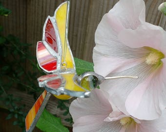 Stained glass and Marbles Humming Bird  for hanging inside or out.