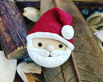 Ready-to-Ship, Handmade, Hand Sculpted, Christmas, Red and White, Polymer Clay, Kawaii, Santa Claus, St. Nicholas, Bulletin Board, Magnet