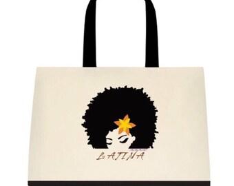 Latina Two-Tone Deluxe Classic Cotton Canvas Tote Bag