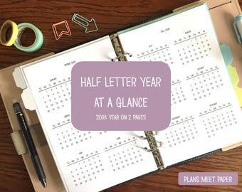 PRINTABLE Half Letter 2018 Year at a Glance