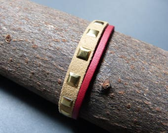 Square nailed suede Cuff Bracelet