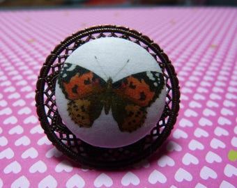 Orange butterfly fabric button ring