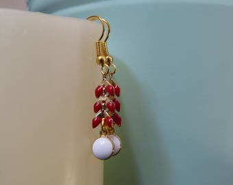 Earrings enameled ear chain & Locket