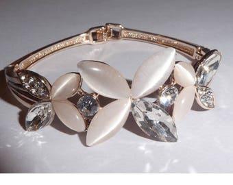Rose Gold Plated Bracelet Bangle. Flower petals and rhinestones