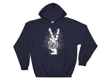 Good Vibes, Peace Hooded Sweatshirt, Hoodie