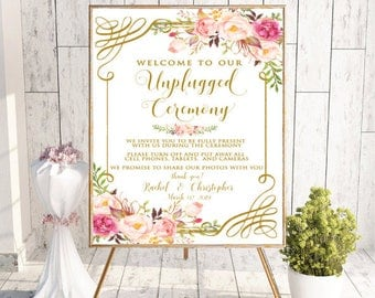 Unplugged Ceremony Sign, Unplugged Wedding Sign, No Cell Phone Sign, No Photography Sign, Welcome To Our Unplugged Wedding, Boho Floral,#RC