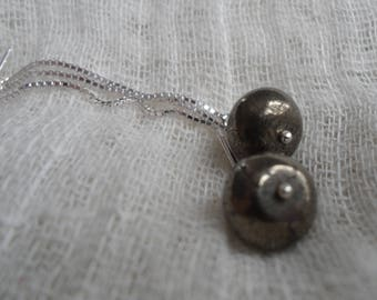 Sterling Silver and Pyrite Threader Earrings