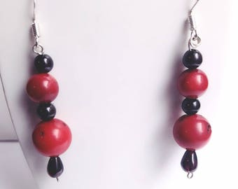 Bamboo coral earrings red and Garnet & Silver 925