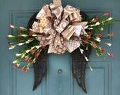 Rustic Angel Wings Wreath / Rustic Angel Wings Door Hanger / Memorial Wreath / Funeral Wreath / Front Door Wreath / Mothers Day Gift