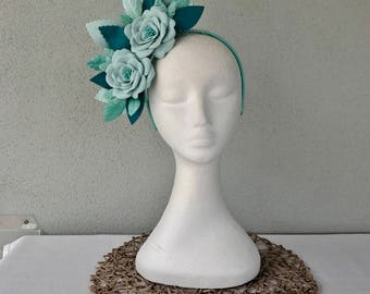 Ladies mint & teal leather floral crown headband fascinator