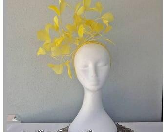 Ladies yellow feather headband fascinator