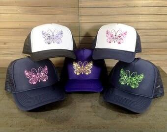 Youth Girls Butterfly Trucker Hat