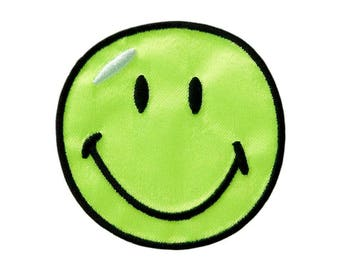 Patch/Ironing-smiley satin-green-Ø 5.5 cm-by catch-the-Patch ® patch appliqué applications for ironing application patches patch
