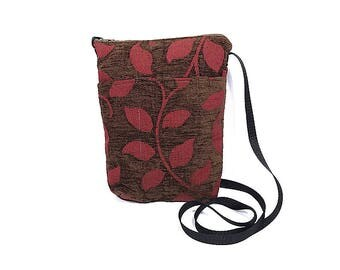 SM Crossbody Bag // Repurposed // Brown and Red // Leaves
