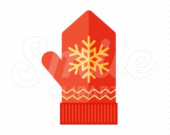 RED MITTEN Clipart Illustration for Commercial Use   0023