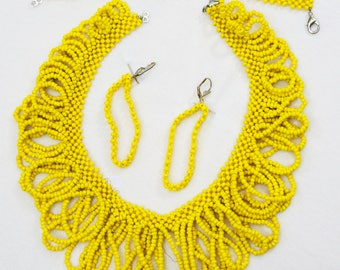 Yellow handcrafted beaded jewelry set