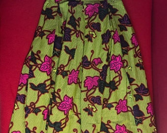 Wax flower motifs long skirt